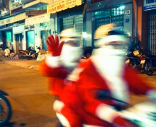 Santas on scooter