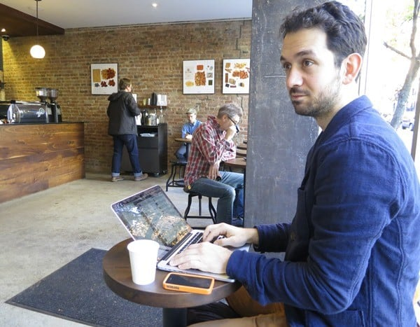 Working in cafe