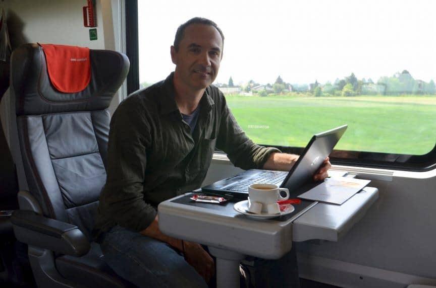 James working on train