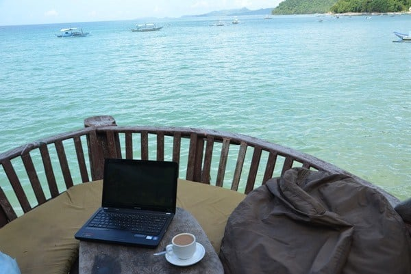 One of my favourite offices in the world, with a view of the beach in El Nido, Philippines.