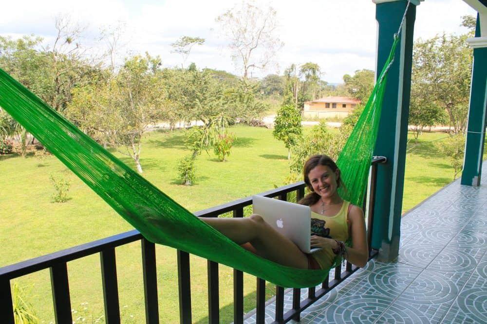 Lauren working in hammock