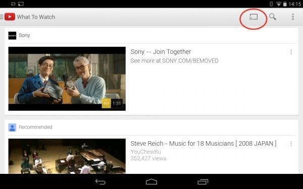 YouTube with Chromecast icon