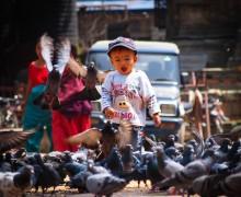Chasing pigeons, Durbar Square