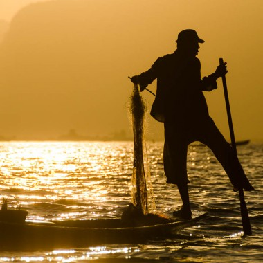 Fishing on Inle Lake at Sunset