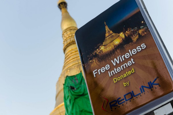 Free Wifi at Shwedagon Pagoda. © Dustin Main 2014