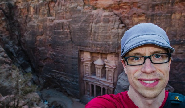 Dustin Main overlooking the Treasury at Petra