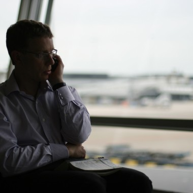 Man on phone in airport