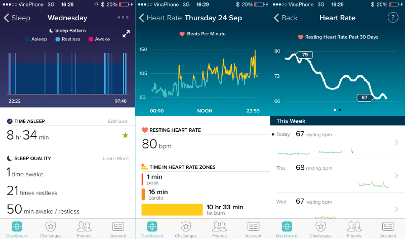fitbit detailed screen
