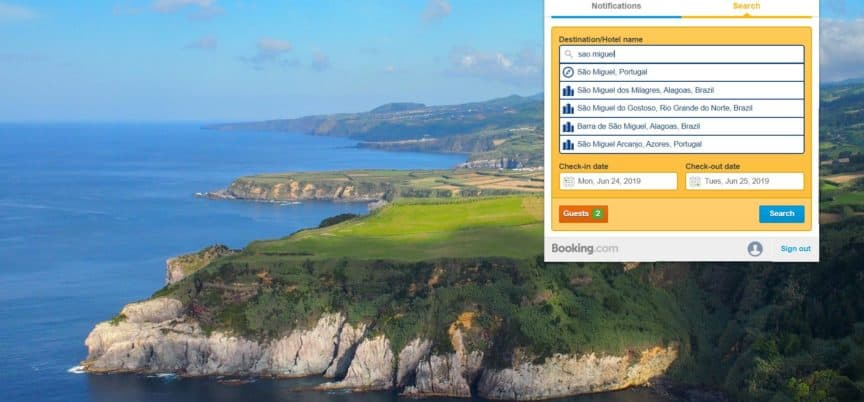 Sao Miguel with Booking Chrome extension