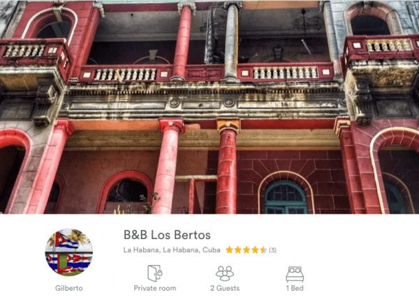 Airbnb listing, Havana