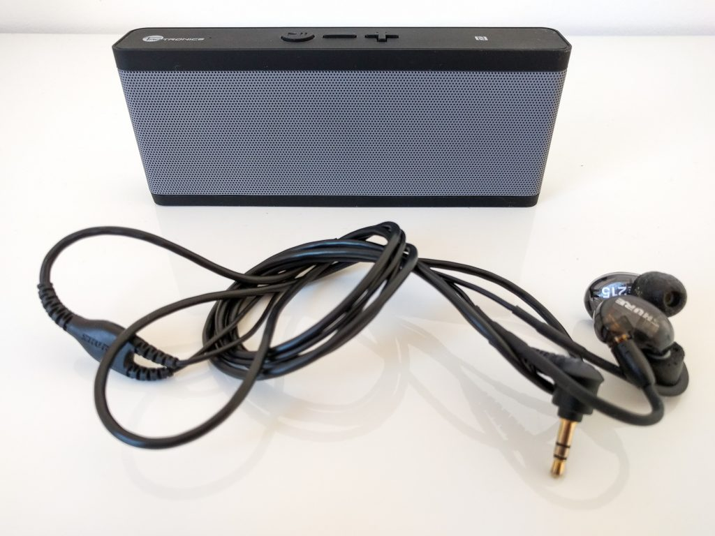 Taotronics Bluetooth speaker and Shure SE215 earphones