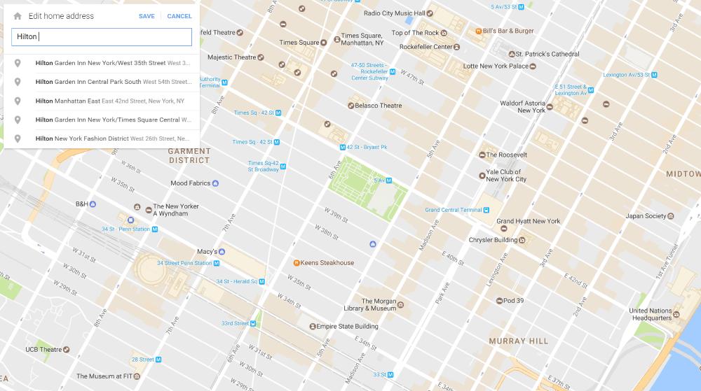 Google Maps - home address