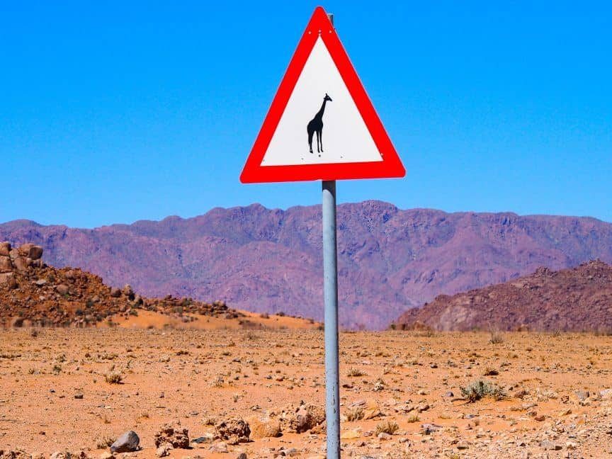 Giraffe sign in Namibia