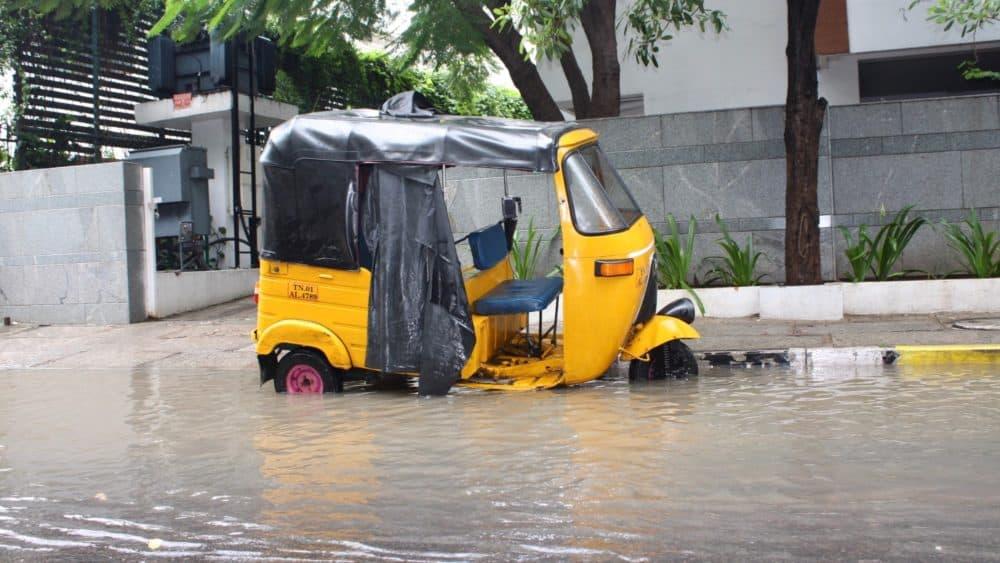 Chennai flooding autorickshaw