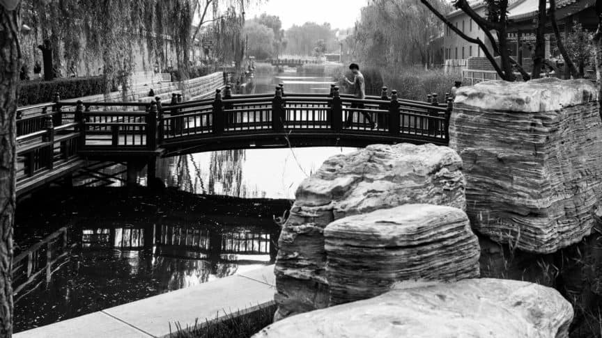 China bridge with person on phone