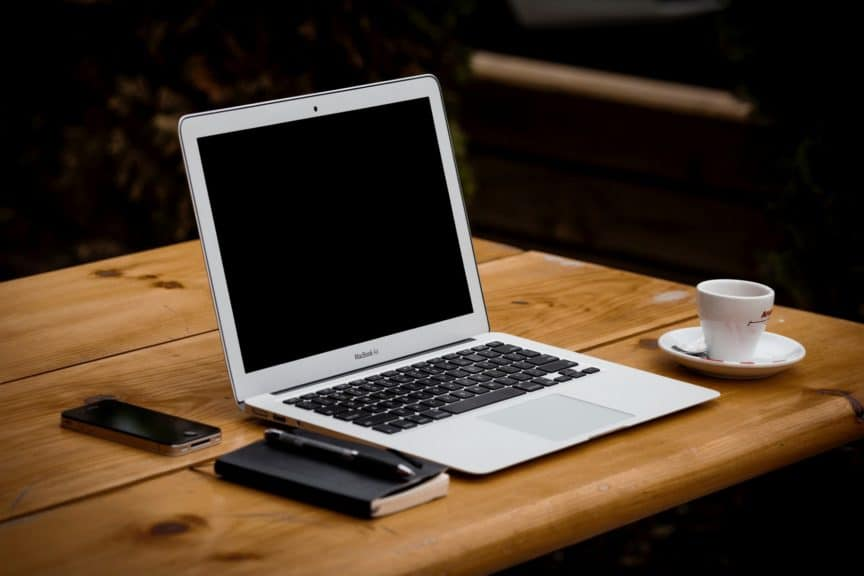 Laptop in coffee shop