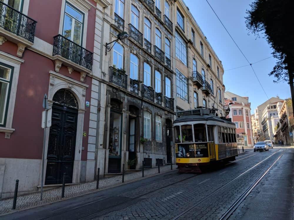 Tram on city street