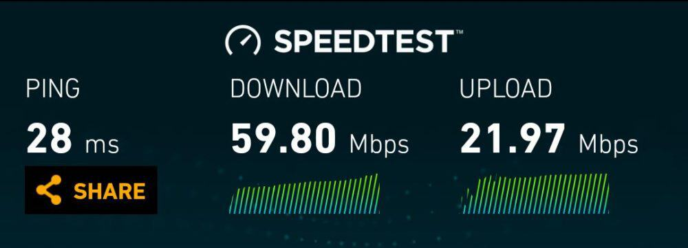 AIS LTE speeds in central Chiang Mai
