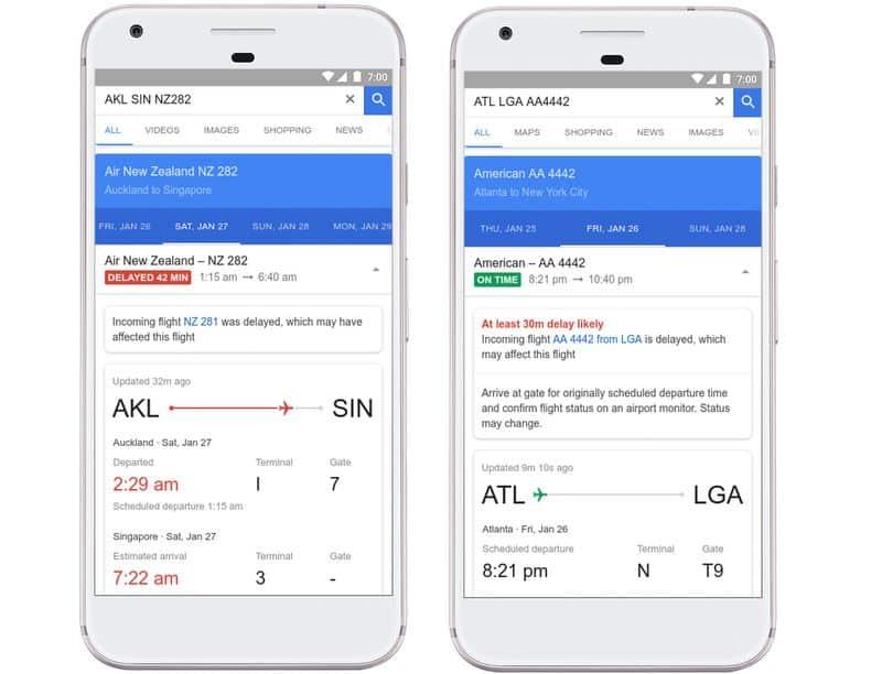 Google Flights screenshots March 2018