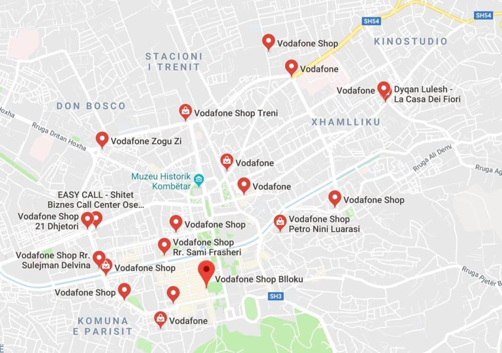 Google Maps view of Vodafone stores in Tirana