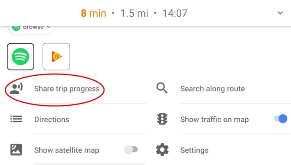 Google Maps share trip progress