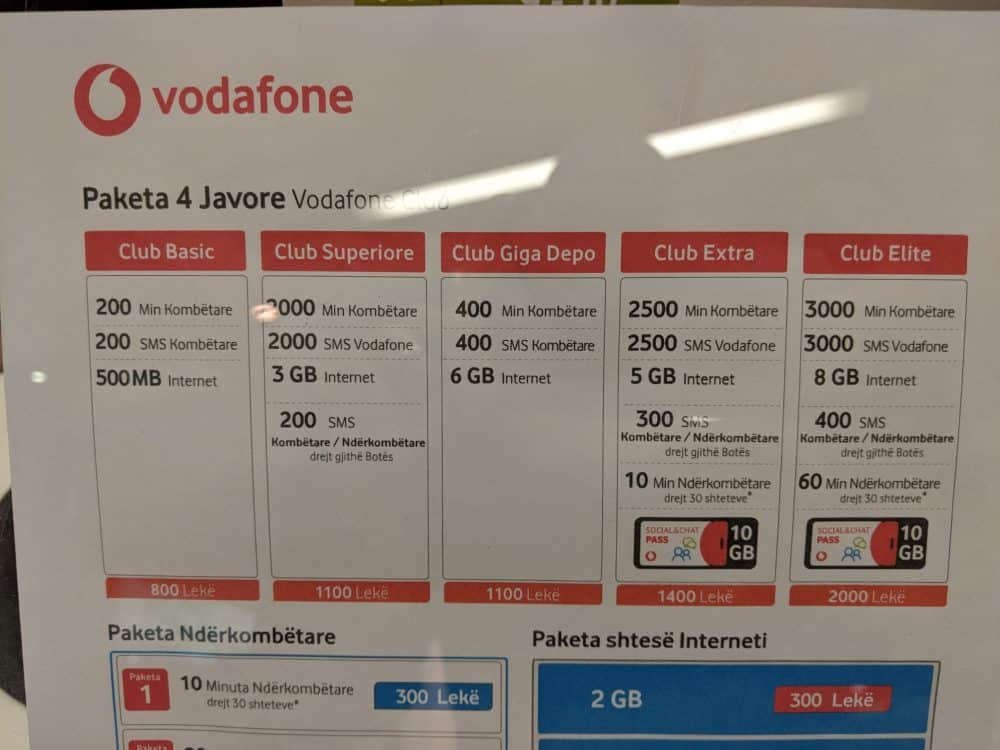 Vodafone Albania club packages