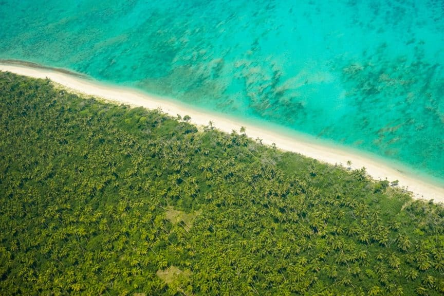 Flight over a beach in Tonga