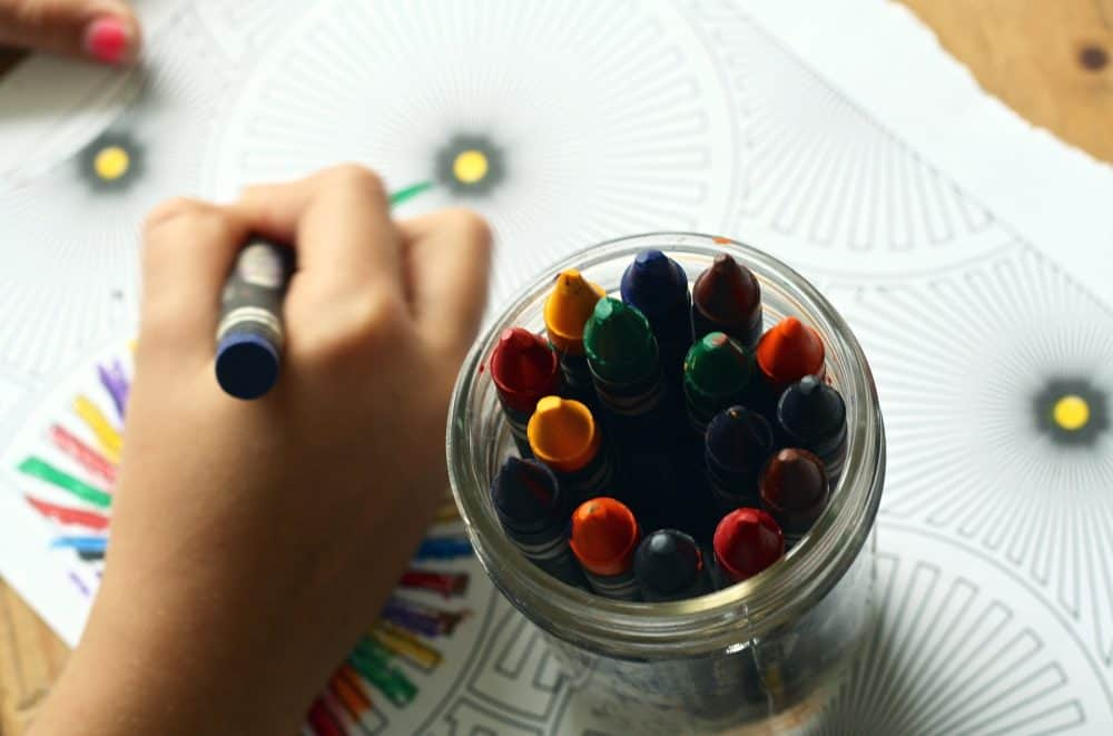 Coloring book and crayons