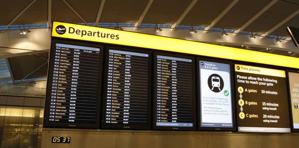 Departure board airport