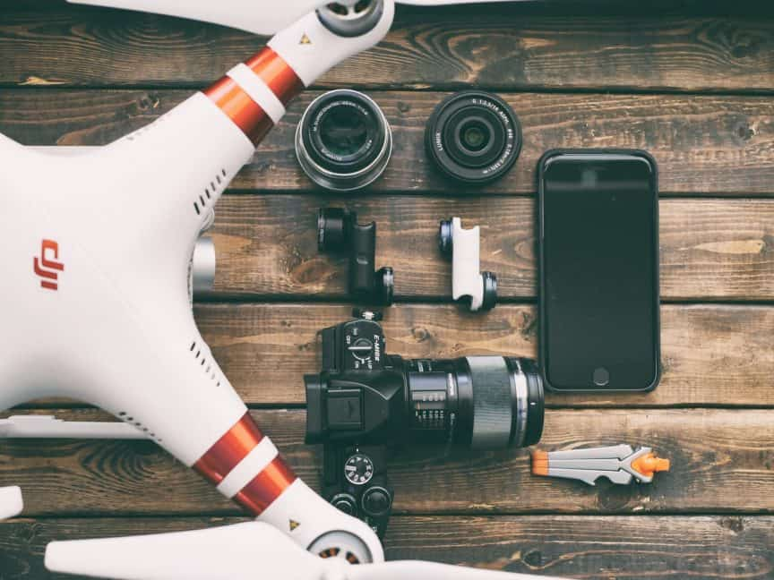 Drone, camera, and gadgets