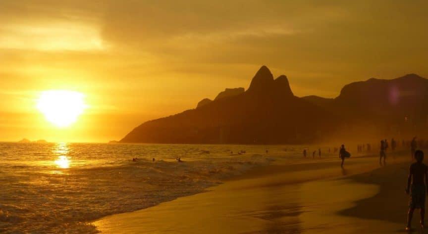 Ipanema Beach at sunset