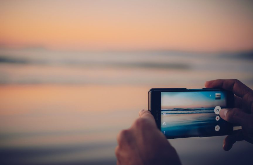 Sunset and smartphone