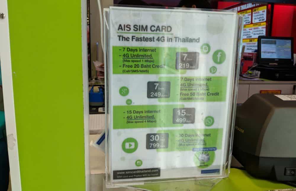 AIS tourist SIM pricing at BKK