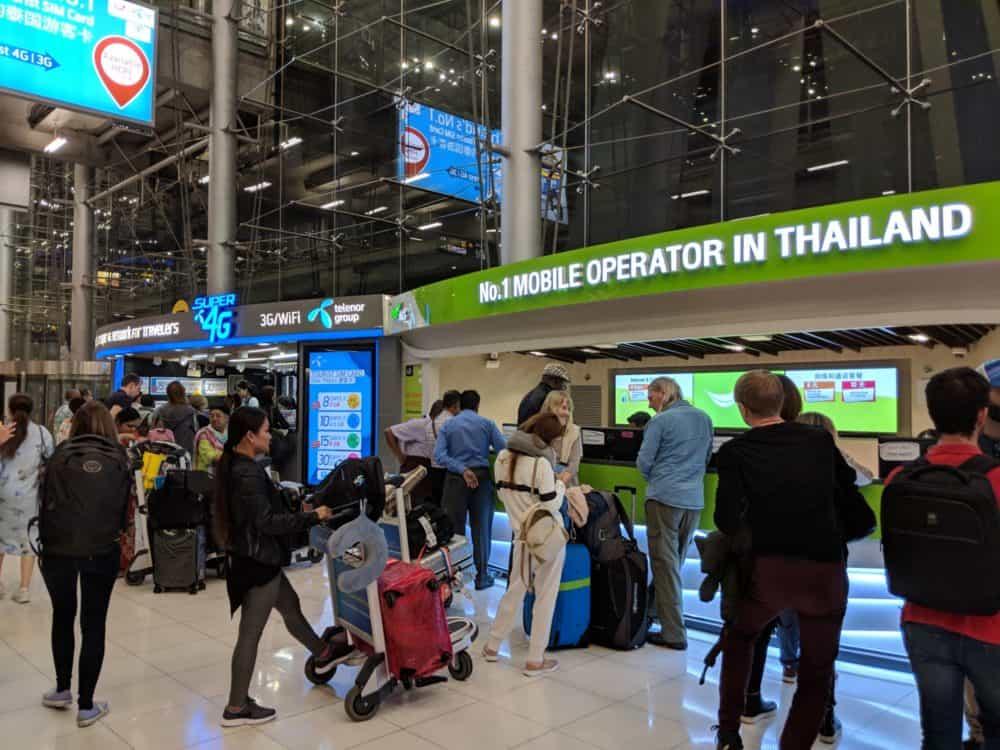 SIM card kiosks at BKK airport