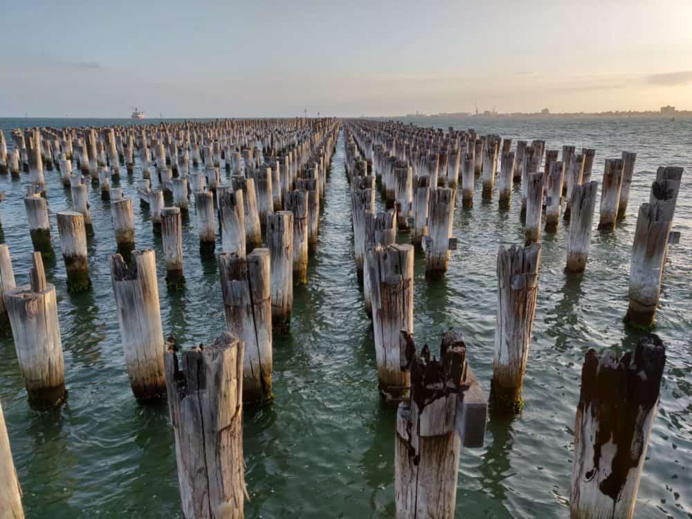 Old pier at dusk, Melbourne