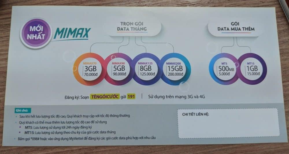 Viettel MiMax pricing