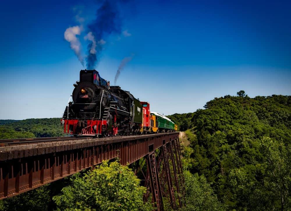 Steam train on bridge