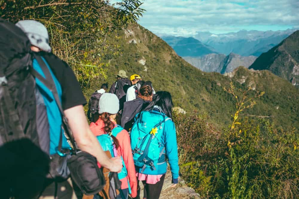 Hikers on a mountain trail