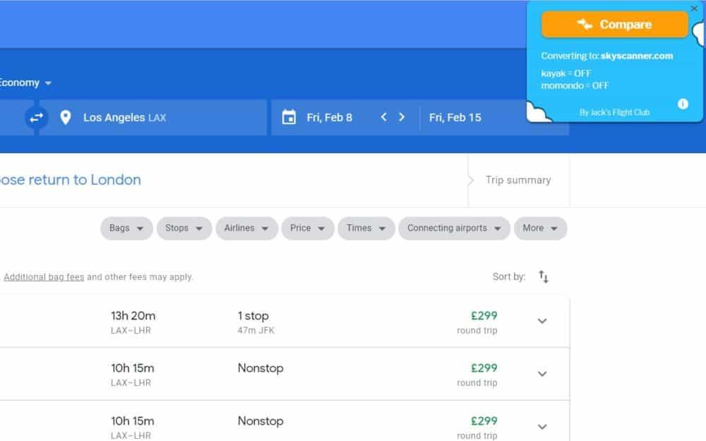 Flight Fare Compare Chrome extension