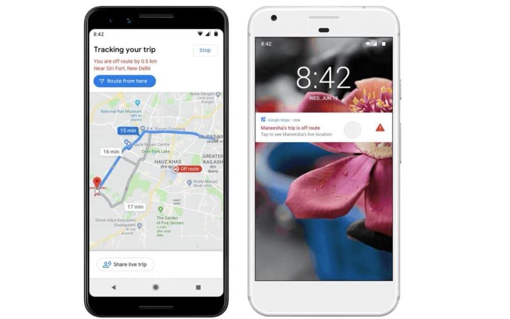 Google Maps off-route alert
