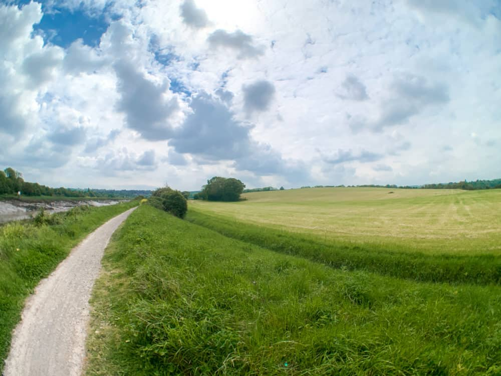 SANDMARC fisheye photo of a walk in the countryside