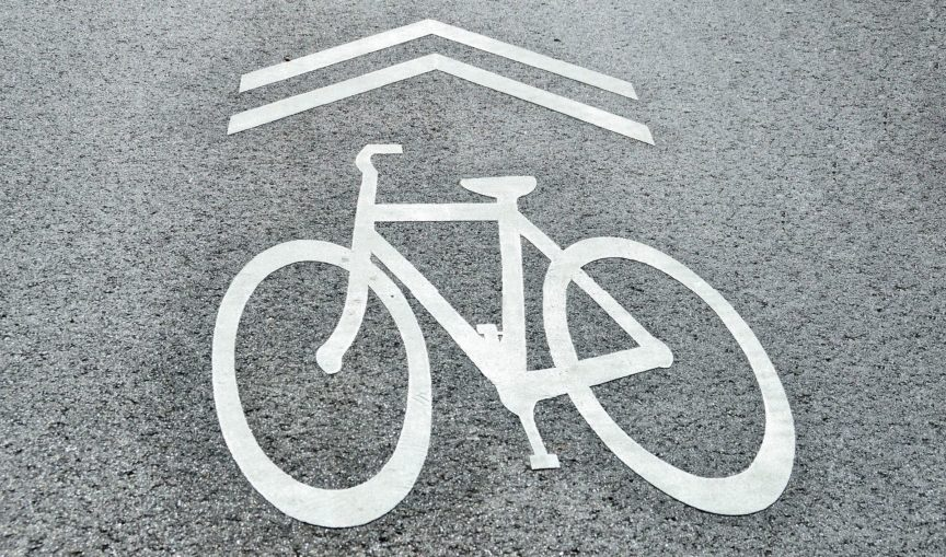 Bike sign on road