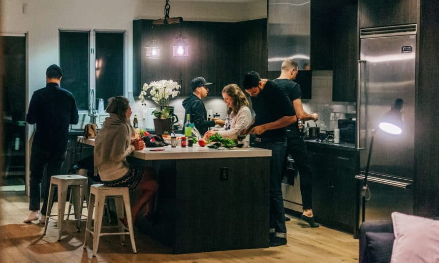 Shared kitchen in coliving space