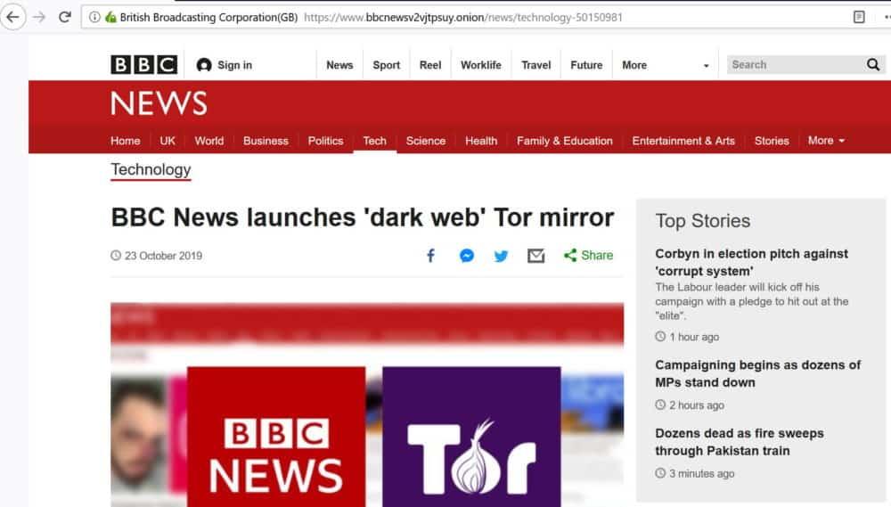 BBC news dark web screenshot