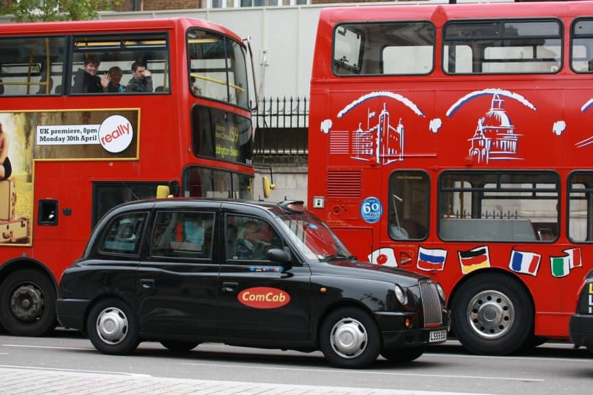 Bus and cab in London