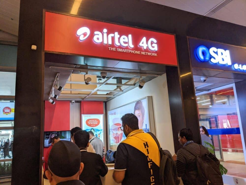 Airtel kiosk at New Delhi airport, Terminal 3