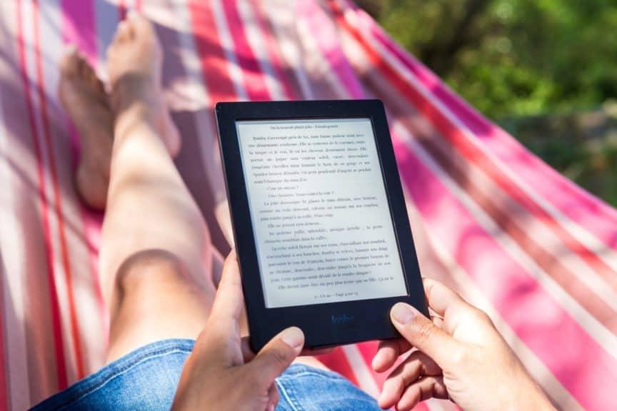 Reading Kindle on hammock