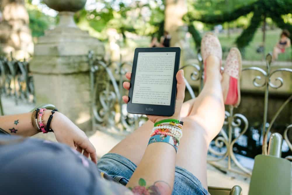 Reading Kindle with feet up