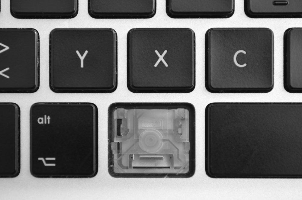 Keyboard with missing key