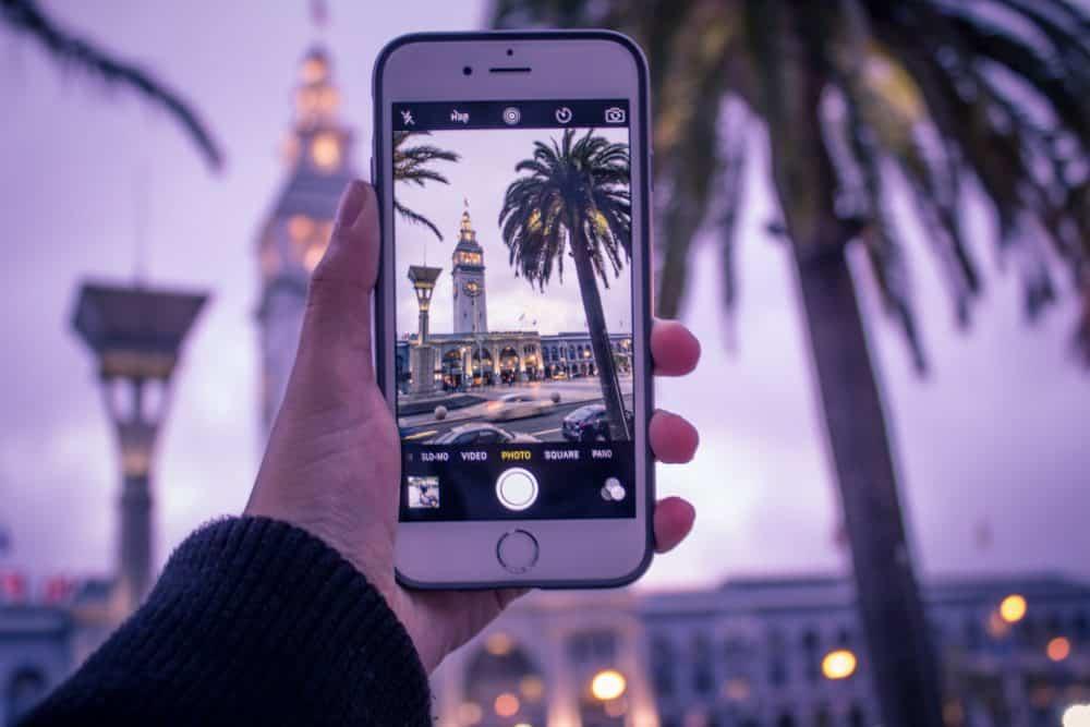iPhone taking photo